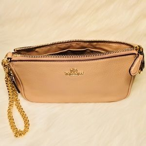 NWT-pebbled leather large wristlet chain clutch
